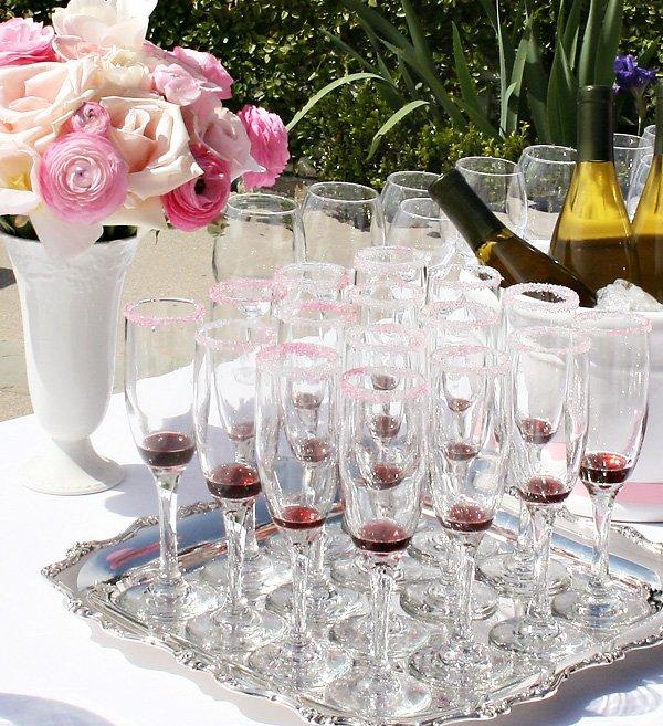 Pink Bridal Shower - Pink Champagne Glasses