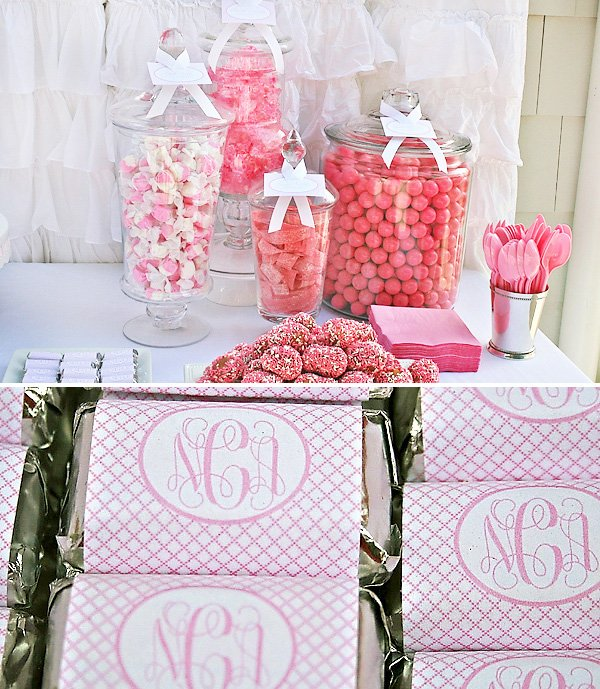Pink Bridal Shower Candy and personalized chocolates