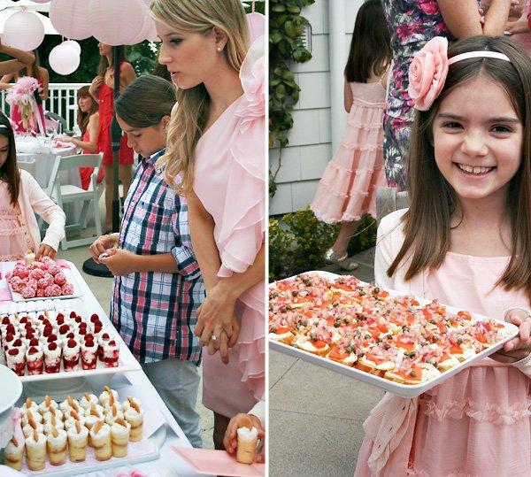 Pink bridal shower desserts and bruschetta