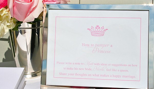 Pink Bridal Shower Marriage Advice Sign