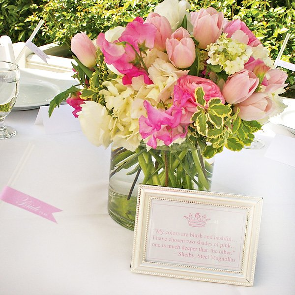 Pink and White Flower Centerpiece with Steel Magnolias Shelby Quote