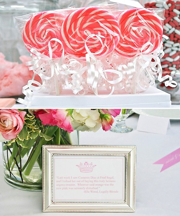 Pink Bridal Shower Whirly Pops and Elle Woods quote