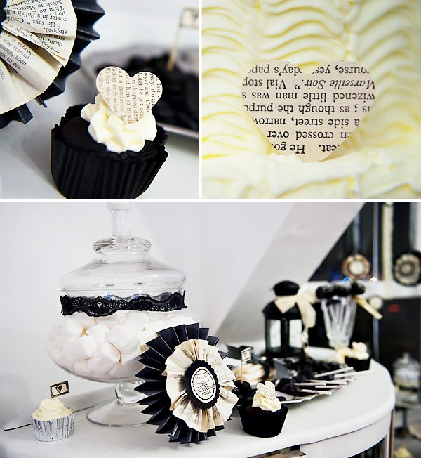 Black Velvet Cupcake with Heart Topper and Victorian Gothic Dessert Display