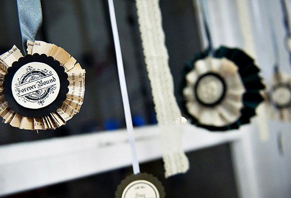 DIY black and white victorian style paper rosettes with just married labels