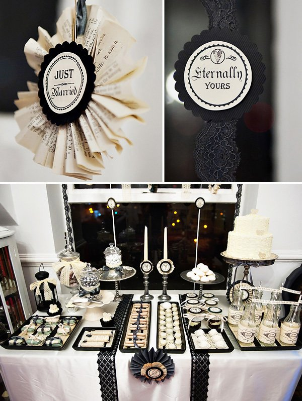 Black and White Victorian Dessert Table with DIY Paper Rosettes and Lace