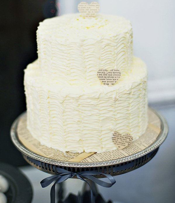 White Ruffle Cake with DIY Gothic Cake Stand and Paper Hearts