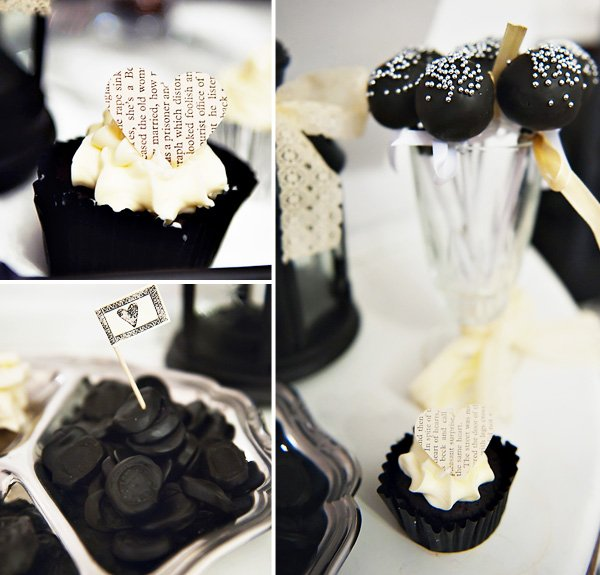 Victorian Cupcake with Heart Topper, Black Cake Pops, and Black Licorice