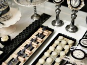 Black and White Victorian Dessert Table with white macarons and ladyfingers