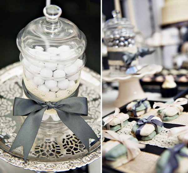 Apothecary jars embellished with satin ribbon and lace