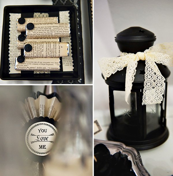 lace-embellished lanterns, DIY paper rosettes, and candy bars custom wrapped with victorian labels