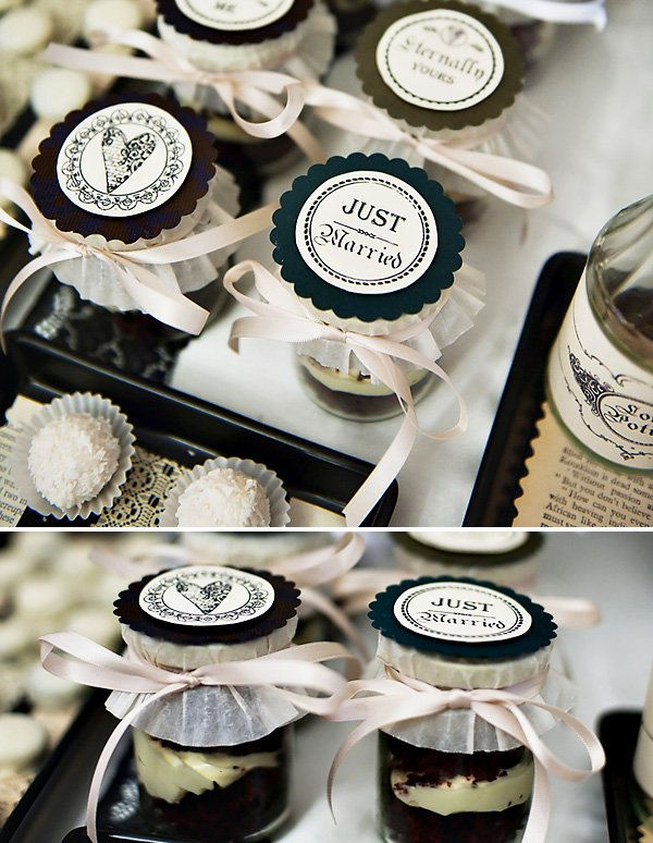 Victorian style mason jar cupcakes embellished with labels and lace