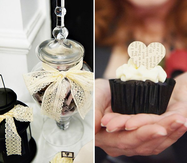 Black Velvet Cupcakes with Heart Toppers and Apothecary Jars decorated with lace