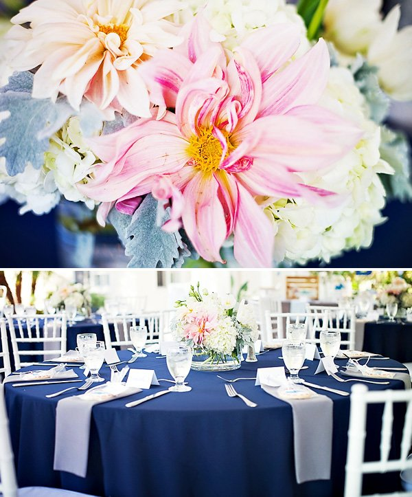 Beautiful Navy Pink White Shower Tablescape