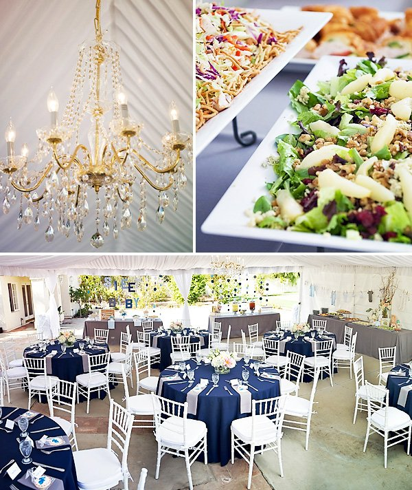 Pink White Navy Baby Shower Tables and Gold Chandelier