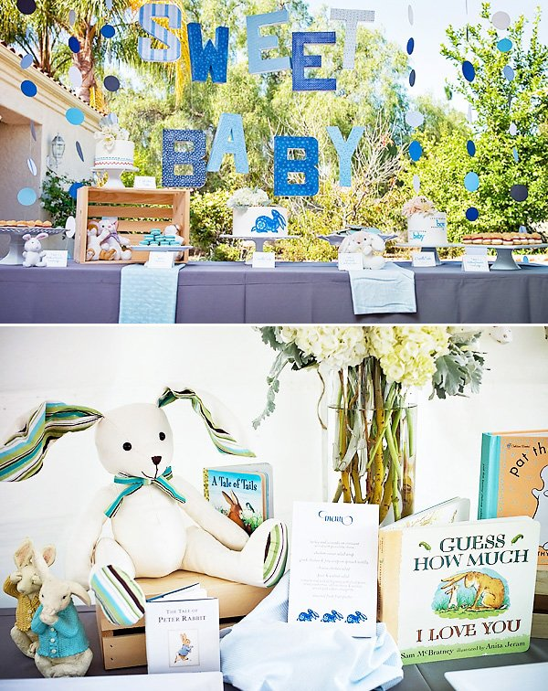 Peter Rabbit Baby Shower Dessert Table and Decorations