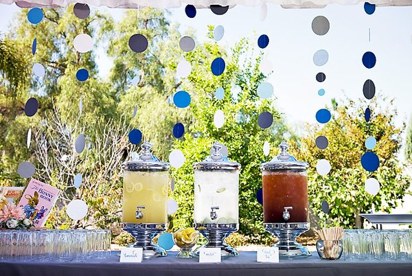 Peter Rabbit Baby Shower Drink Station - Blue Garlands