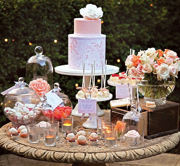Peach and White Dessert Table
