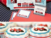 Train themed birthday party invitations and cupcakes