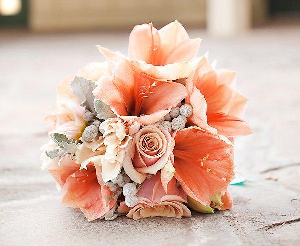 coral orange bridal bouquet
