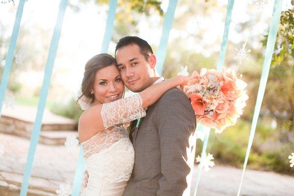 Coral Aqua Wedding Bouquet - Bride and Groom