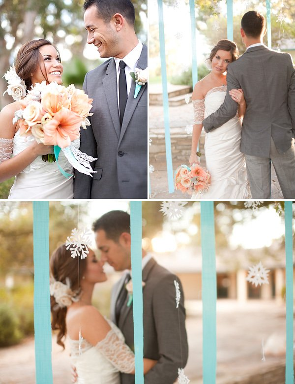 Coral and Aqua Wedding - Bouquet and Bride & Groom