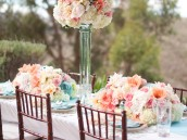 Pink Aqua Coral Wedding Centerpiece
