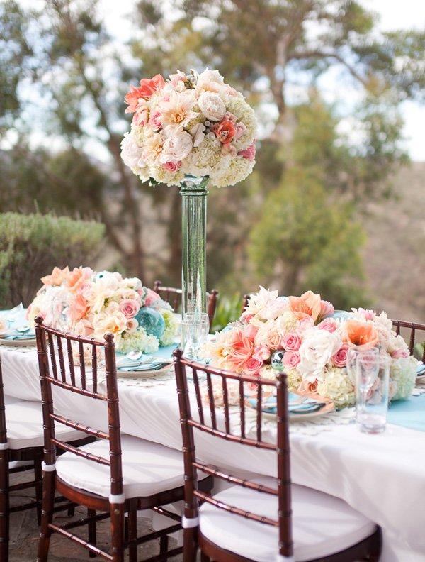 Pink Aqua Coral Wedding Centerpiece