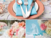 Coral and Aqua Wedding Table Place Setting