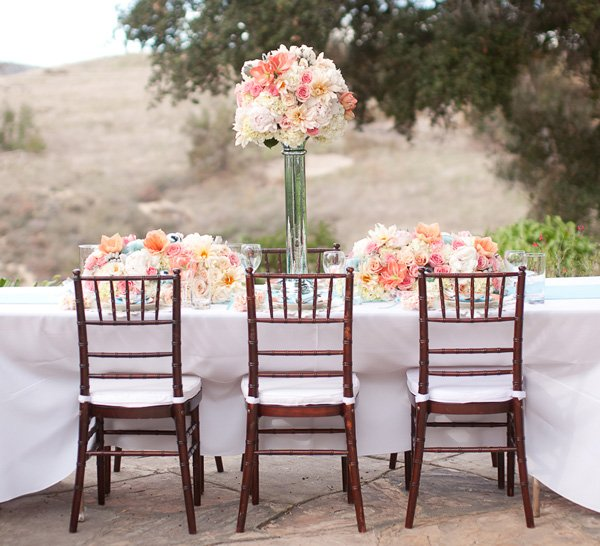 Coral and Aqua Wedding Table and Centerpiece