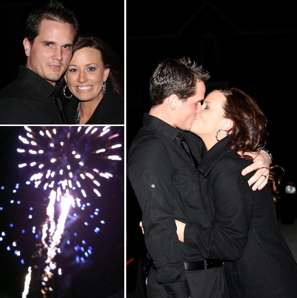 new years eve gender reveal couple kissing and fire works