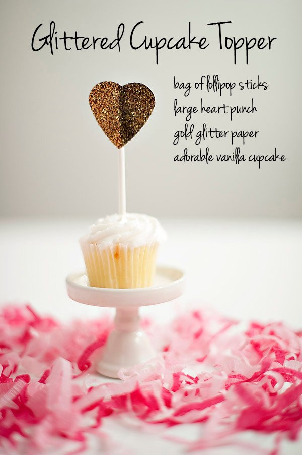 glittered cupcake topper tutorial