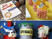 Lil Sailorman Invitations, Party Favors, and Spinach & Popeye themed dessert table