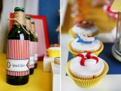 "Popeye inspired party ""Spinach Juice"" and Lifesaver Cupcakes"