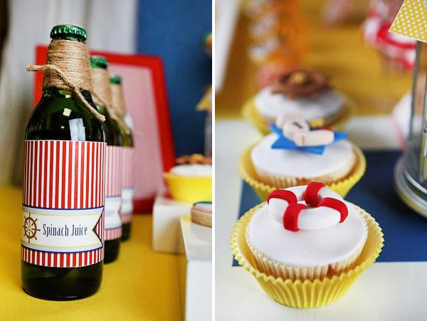 """Popeye inspired party """"Spinach Juice"""" and Lifesaver Cupcakes"""
