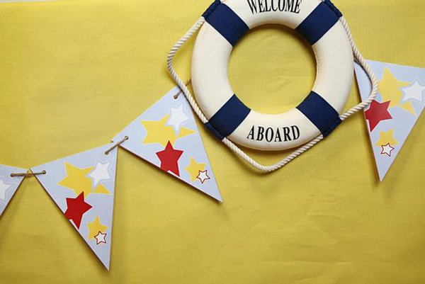 Nautical Lifesavor Welcome Aboard Party Sign