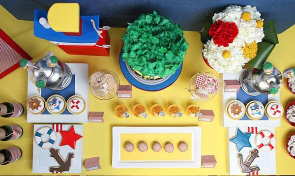 Little Sailorman Popeye Party Dessert Table - Top View