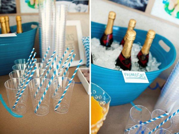 Mimosa Station with Blue & White Stripey Straws