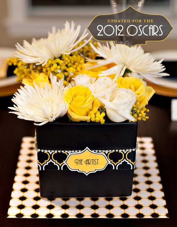 Black White & Gold Modern Oscars Party Centerpiece Idea - 2012