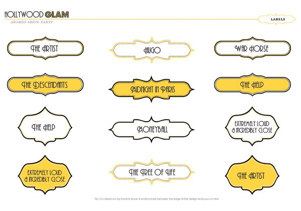 Free Oscars Party Printables - Best Picture Nominees 2012
