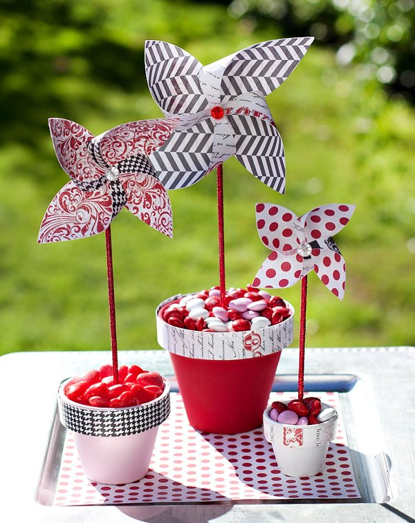Diy Paper Pinwheels Candy Centerpiece Hostess With The Mostess