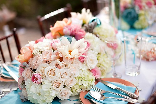 pink coral and white flowers - wedding centerpiece