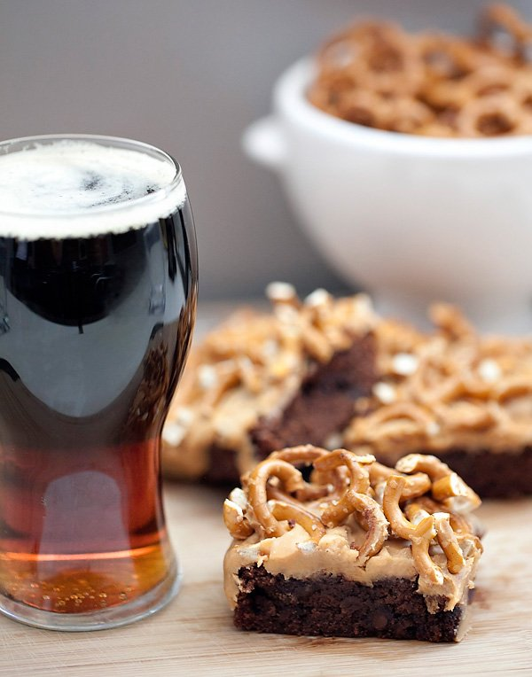 Guiness Stout Pretzel Brownie Bars
