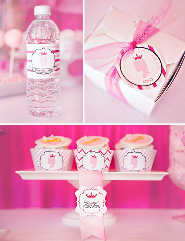 princess party printables - cupcakes and water bottles