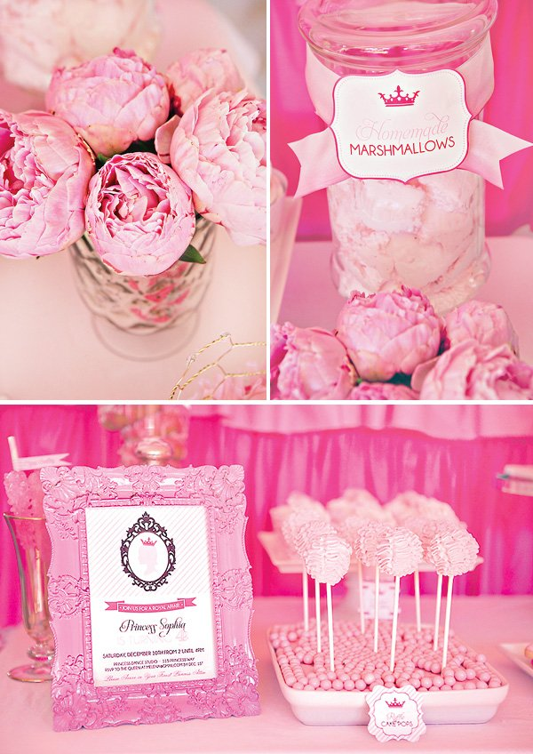 pink peony centerpiece and pink ruffle cake pops - princess party