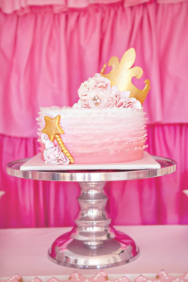 pink princess party ombre ruffle cake with fondant crown and wand