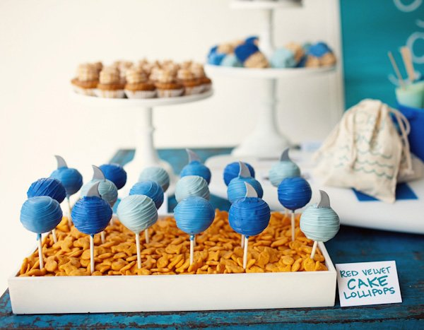 Shark Fin Cake Pops in Goldfish Trays - Surfer Birthday Party