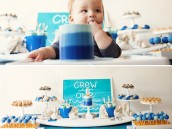 Little Surfer First Birthday Party - Dessert Table & Cake