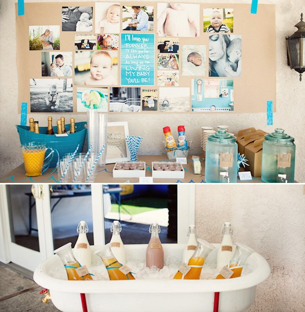 Little Surfer Birthday Party - Drink Station with Milk & Juice Carafes in a Bathtub