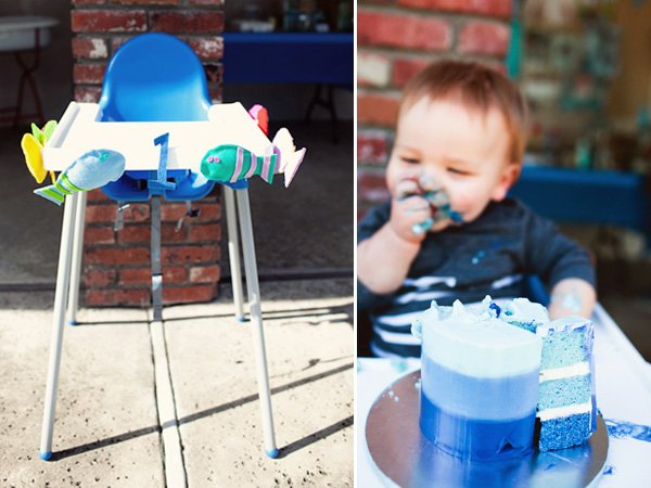 Little Surfer First Birthday Party Blue Ombre Cake & High Chair