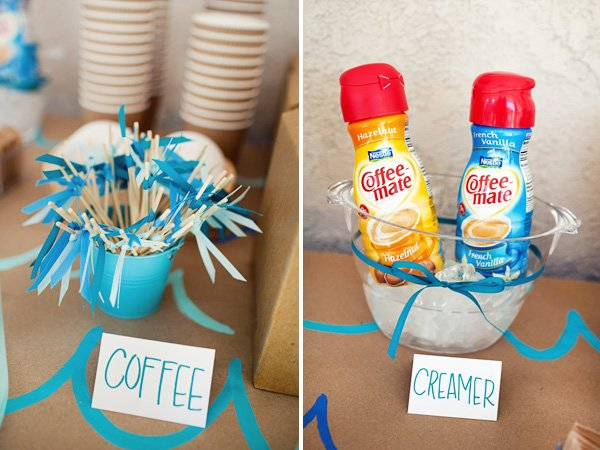 Coffee Station with DIY Stir Sticks & Creamer - Surf Birthday Party